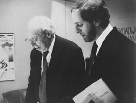Aaron Copland and Steven Richman, following Copland 80th Birthday Concert, Nov. 22, 1980, Symphony Space, New York City.