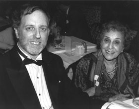 6. Francis Gershwin Godowsky (sister of George Gershwin) with Mr. Richman after the HE/NY Gershwin concert at Alice Tully Hall, Lincoln Center, 1987.