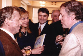 Czech President Vaclav Havel and Mrs. Havel (left) with Mr. Richman (right), at Czech United Nations Ambassador�s residence, NYC, 1997.
